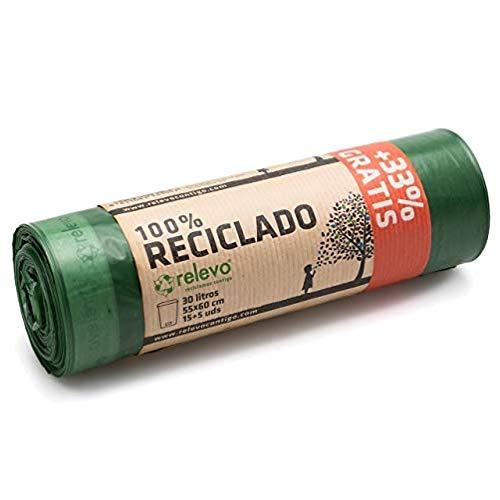 Relevo 100% Reciclado Bolsas de Basura, extra resistentes 30 L, 20 bolsas