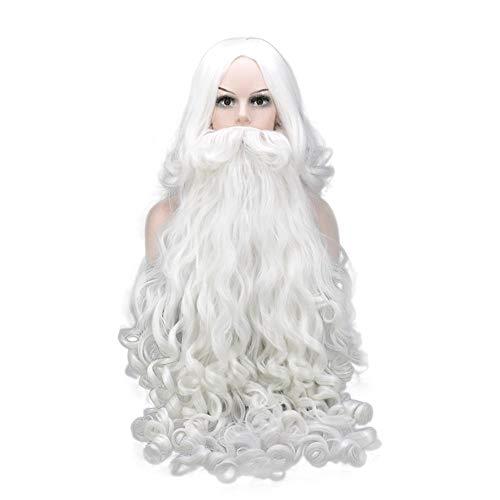 Mannen Kerstman Wig Old Man White lang krullend haar en Lange baard Pruik