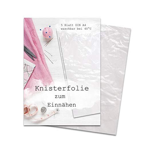 Knisterfolie zum Einnähen 5 Blatt DIN A4, Knisterpapier zum Einnähen