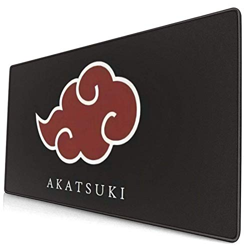 Anime Naruto Akatsuki Red Cloud Gaming Keyboard and Mouse Pad Large Extended Gamer Mouse Mat Non-Slip Rubber Full Desk Mousepad for Computer Laptop Office 15.8 x 29.5 Inch