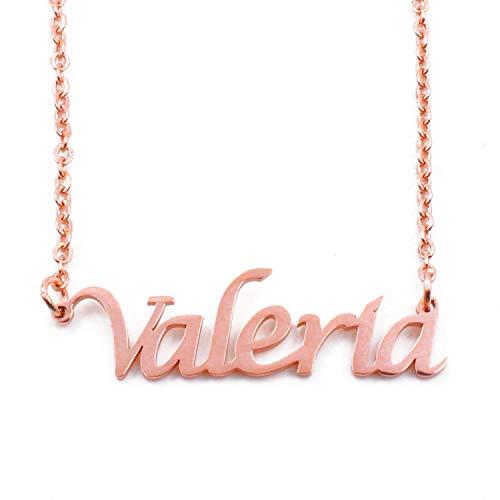 KL Kigu Valeria - Collana da donna con nome, in oro rosa, con nome, alla moda, regalo per fidanzata, madre, sorella
