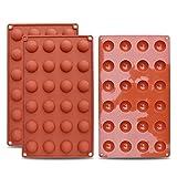homEdge Mini molde de silicona semi-esfera de 24 cavidades, 3 paquetes de moldes para hornear para hacer chocolate, pasteles, gelatinas y mousse de cúpula