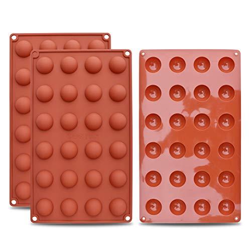 homEdge Mini 24-Cavity Semi Sphere Silikonform, 3 Packungen Backform zur Herstellung von Schokolade, Kuchen, Gelee, Dome Mousse