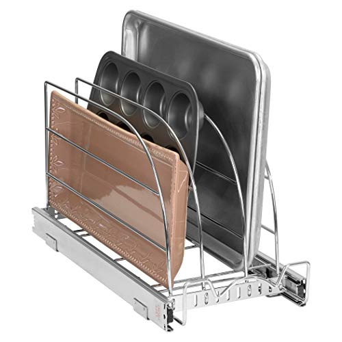 """Pull Out Organizer for Cookie Sheet, Cutting Board, Bakeware, and Tray - Organizer Sliding Rack for Kitchen Pantry Cabinets, Heavy Duty for Under Sink / Cabinet, 8.5""""W x 21""""D x 10.63""""H, Chrome"""