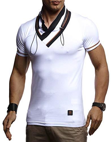 LEIF NELSON Herren stylisch V-Ausschnitt T-Shirt Modern Sweatshirt Hoodie Pullover Pullover Pullover Polo Sommer Slim Fit LN4860 , Weiß , XL