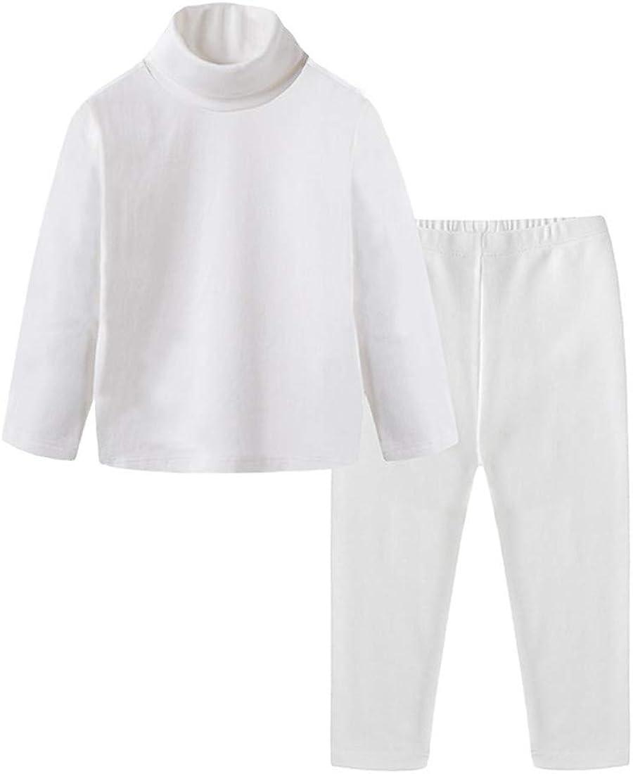 Toddler Boys Girls Warm Thermal Underwear Long Sleeve T-Shirt Leggings 2Pcs Kids Winter Base Layer Set