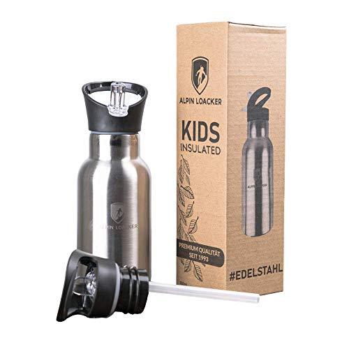 Alpin Loacker Edelstahl Trinkflasche 350ml - Hochwertige Thermos Isolierflasche - Kinder Thermosflasche inkl. 2 Sportverschlüsse - Auslaufsichere Thermo Flasche