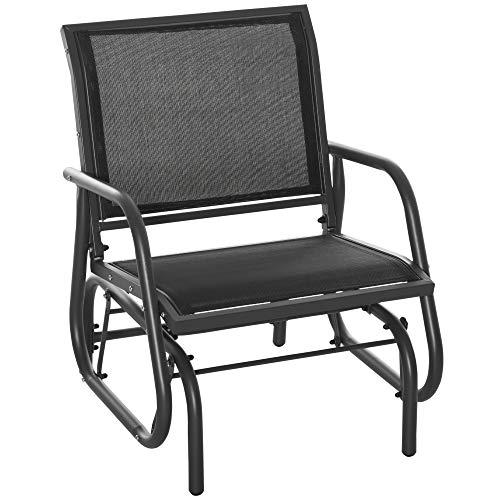 Outsunny Fauteuil à Bascule de Jardin Rocking Chair Design Contemporain Acier textilène Noir