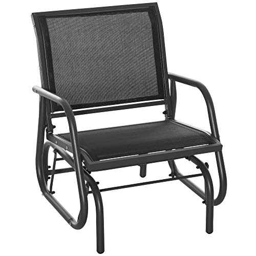 Outsunny Outdoor Gliding Swing Chair Garden Seat w/Mesh Seat Curved Back Steel Frame Armrests Comfortable Lounge Furniture Dark Grey Black