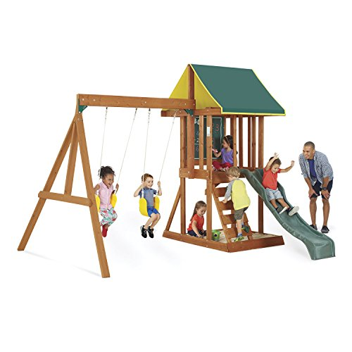 KidKraft Appleton Cedar Wood Swing Set / Playset F24148, Multicolor