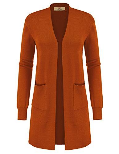 Womens Open Front Long Cardigans Knit Lightweight Duster Coats(L,Rust)