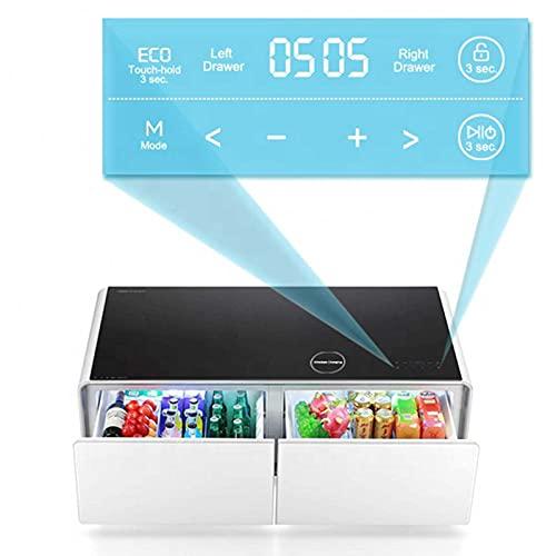 RSTJ-Sjcw Smart Couchtisch-Seite/Nachttisch-Tisch - mit 2 Kühlschublade, USB-Aufladung, Bluetooth-Lautsprecher, Touch-Tisch-Couchtisch-Cocktail-Tisch für Wohnzimmer- / Empfangsraum