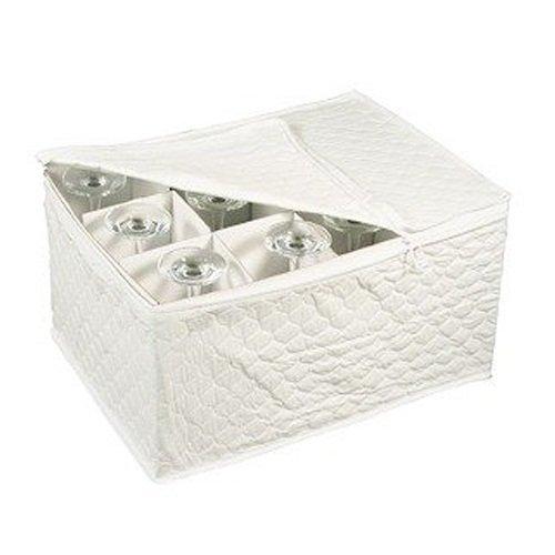 Stemware Storage Chest for Up to 12 Glasses, White (2-Pack)