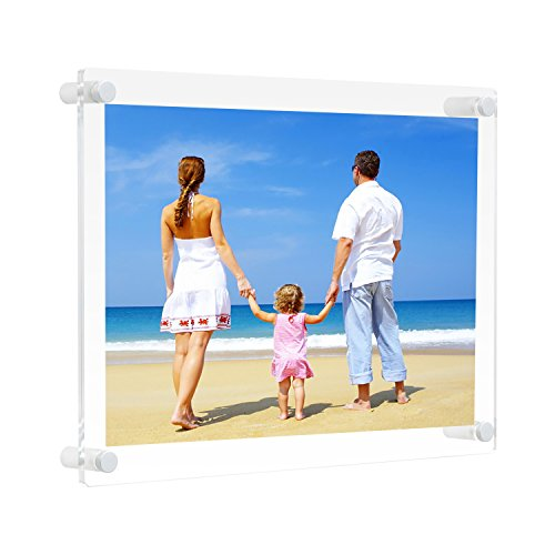 NIUBEE 8.5x11 Clear Acrylic Wall Mount Floating Picture Frame A4 Letter Size Photo for Document Certificate Sign Display -Double Panel (Full Frame is 9.4x13.4 inch)