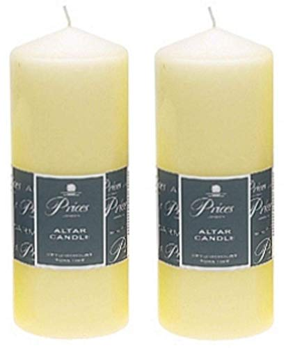 2 x Prices Ivory Altar Candle 200mm X 80mm 100 Hours Burn Time