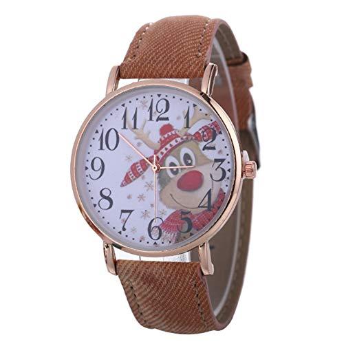 Sanwood Christmas Quartz Wristwatches, Unisex Dial Faux Leather Band Analog...