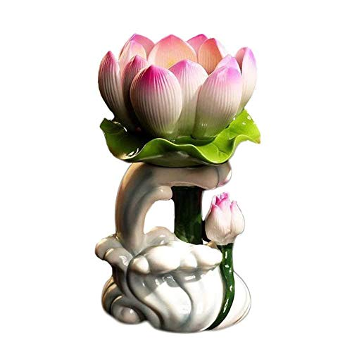 ZODSFG Wine Opener Candle Holder Candlestick Water Wave Lotus for Buddha Ceramic Candle Lamp Holder Long Lamp Home Worship STHMG