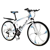 Zlolia Adult Mountain Bikes 26 Inch Mountain Trail Bike High Carbon Steel Full Suspension Frame Folding Bicycles 6 Spoke 21 Speed ​​Gears Dual Disc Brakes Mountain Bicycle