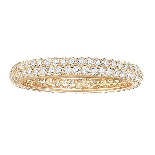 PAVOI 14K Gold Plated Sterling Silver Cubic Zirconia Double Row Eternity Band Yellow Gold for Women Size 5.5