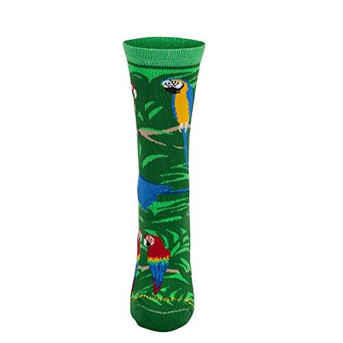 Wheel House Designs Parrot Design Neuheit Socken in Hunter Grün Gr. L, hunter green