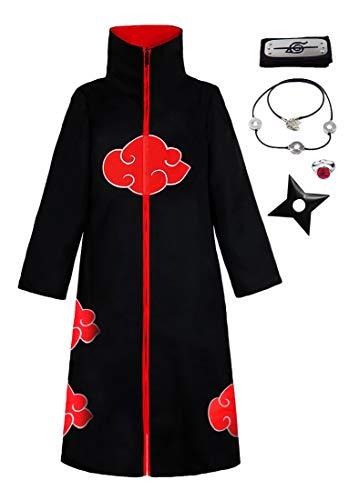 KuKiee - Disfraz de ninja Akatsuki largo unisex, disfraz de Halloween o cosplay - negro - 12-13 aos