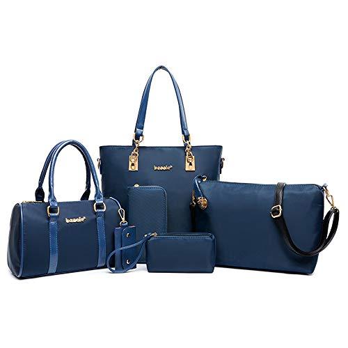AlwaySky Nylon Damen Schultertasche Henkeltaschen Handtasche Tote Geldbörse Brieftasche Schlüsselfall Sechsteiliges Set Blau