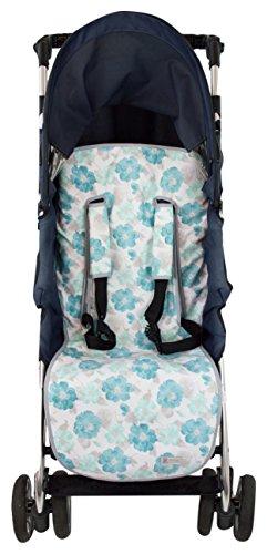 Colchoneta o funda Universal para silla de paseo o cochecito + Protector de arneses. Modelo Flores Turquesa