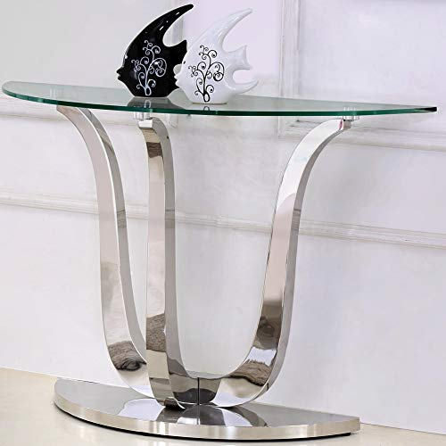 Naples Semi Circle Glass Console Table by Oak Furniture King