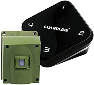 Guardline ¼ Mile Long Range Wireless Driveway Alarm Outdoor Weather Resistant Motion Sensor & Detector- Best DIY Security Alert System- Monitor & Protect Outside Property, Yard, Garage, Gate, Pool