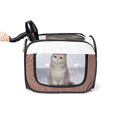 Qirreao Pet Drying Box Portable Foldable Pet Dry Room Pet Hair Dryer Clean Grooming House Hands-Free Dryer Cage for Cats/Dogs