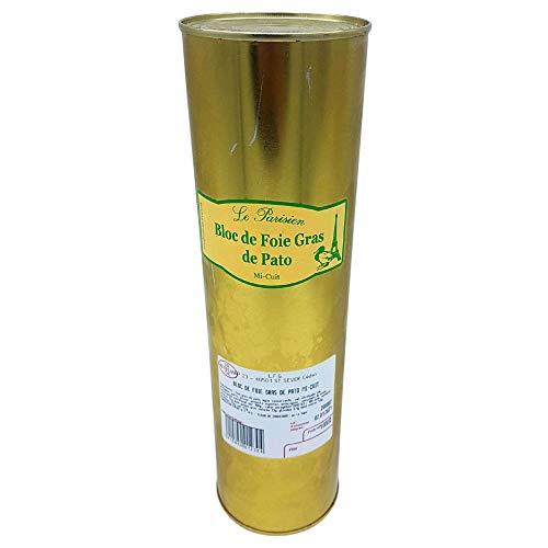 Bloc de Foie Gras de pato Mi-Cuit con trozos 30% Le Parisien - Peso del producto 1 Kilo - Producto SIN GLUTEN apto para celíacos - Ideal para estas Navidades
