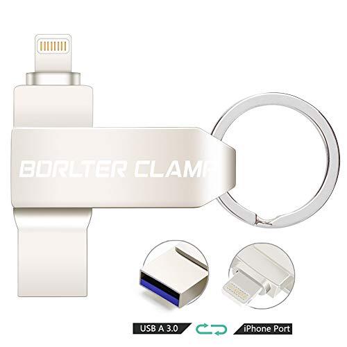 Memoria USB 256GB para iPhone 11 / XR/X / 8 Plus / 7 Plus / 6s / 5, iPad, Laptop y PC, BorlterClamp USB 3.0 Pendrive OTG Flash Drive Memory Stick para iPhone iPad