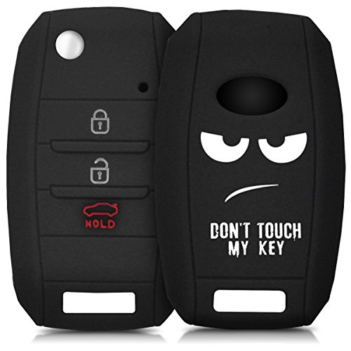 kwmobile Autoschlüssel Hülle kompatibel mit Kia 3-4-Tasten Autoschlüssel - Silikon Schutzhülle Schlüsselhülle Cover Don't Touch My Key Weiß Schwarz