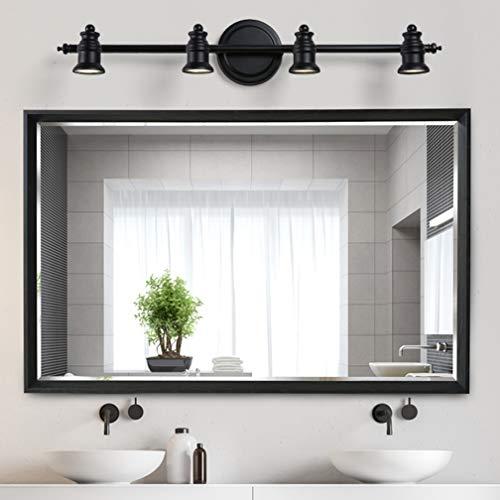 Lámparas de espejo LED vintage Apliques giratorios creativos Luz clásica de espejo de color negro Lámpara de espejo nórdico para baño con focos LED IP 44 10cm de la pared, 4- cabeza