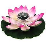 Lampada LED a fiore di loto ad energia solare Lampada a fiore di loto multicolore Resistente all'acqua Lampada da notte per laghetto galleggiante all'aperto, Decorazione per laghetto galleggiante