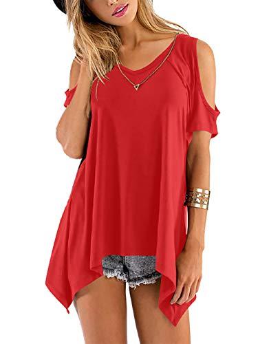 Beluring Tops Damen Sommer T Shirt Oberteil Tops Bluse mit V Ausschnitte, A-rot, 42-44 (Herstellergröße: L)