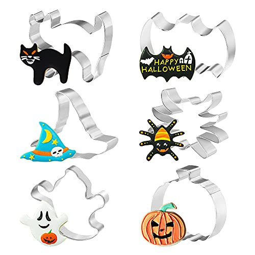 Bluelves Formine Biscotti Halloween, 6 Stampi Biscotti Halloween, Tagliabiscotti Halloween, Formine per Biscotti per Festa Halloween, Zucche, Ragno, Fantasma, Cappello da Strega