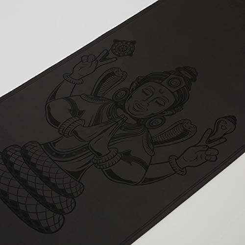 Yogamatte Patanjali - extrem rutschfest - ökologisch aus Naturkautschuk - Profi Yoga Matte ideal für Ashtanga Yoga und Hot Yoga - 183 x 66 x 0,4 cm Schwarz