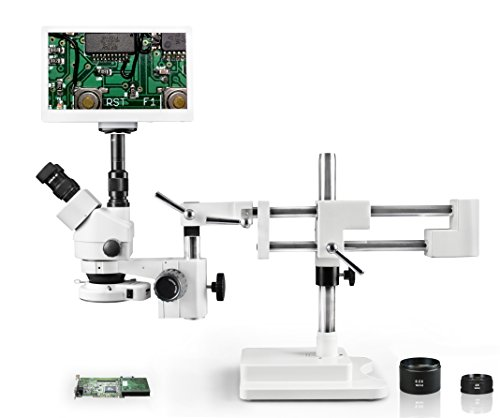 "Vision VS-5FZ-IFR07-RET11.6 Simul-Focal Trinocular Zoom Stereo Microscope, 10x WF Eyepiece, 3.5X—90x Magnification, 0.5X & 2X Aux Lens, Single Arm Boom Stand,11.6"" Retina HD Display with 5MP Camera"