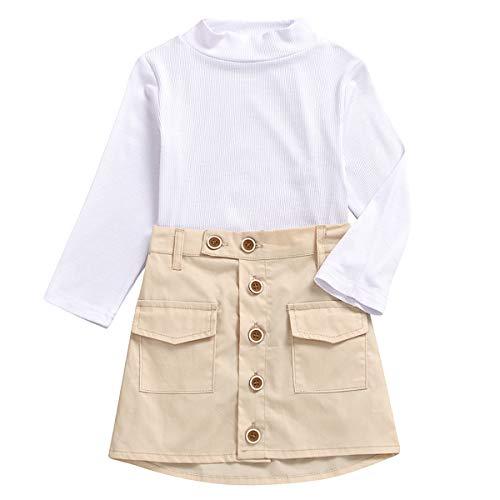 puseky 2 stks Kids Peuter Meisje Coltrui Lange mouwen Shirt Top A-lijn Rok Outfits Set