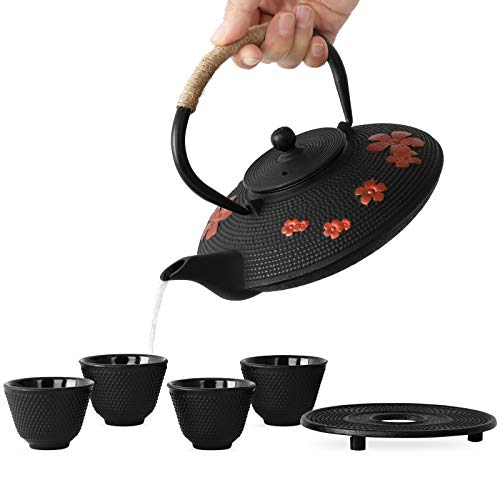 TOVACU Japanese Style Cast Iron Teapot with 4 Tea Cups Trivet Tetsubin Tea Kettle with Infuser Chinese Iron Tea Set Black Gift for Adults Family Friend Pear Flower Pattern