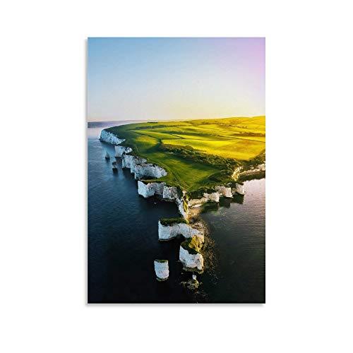 JHDSL Old Harry Rock Drohne Shot One of The Best Straches in Dorset England Landschaft Tourist Poster Dekorative Malerei Leinwand Wandkunst Wohnzimmer Poster Schlafzimmer Gemälde 20 x 30 cm
