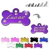 Hueso para Mascotas pequeñas-Medianas con Patas Placa Chapa Medalla de identificación Personalizada para Collar Perro Gato Mascota grabada (Lila)