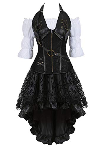 Grebrafan Steampunk Neckholder Corsage Kostüm mit asymmetrischer Spitzenrock und Bluse - für Karneval Fasching Halloween (EUR(36-38) L, Schwarz)