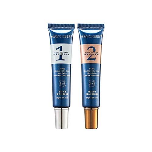 2Pcs Fond de teint liquide Crème CC Foundation Cosmetique Fond de Teint Base de maquillage Nude Correcteur de couvrance liquide Couvrant Liquid