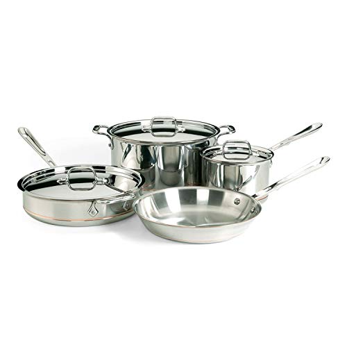 All-Clad 6000-7 SS Copper Core 5-Ply Bonded Dishwasher Safe Cookware Set, 7-Piece, Silver