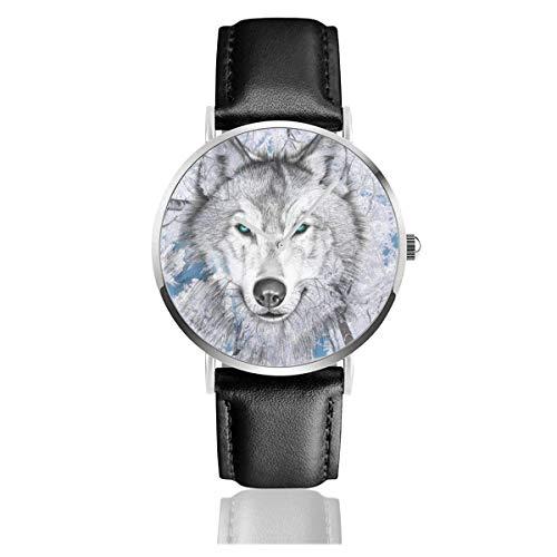 Snow Forest Wolf Face Reloj Unisex Reloj Deportivo de Moda PU Banda de Cuero Relojes de Pulsera de Cuarzo Reloj clásico Delgado