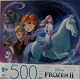 Factory Sealed 500-piece Puzzle Featuring Elsa, Anna, Kristoff, Sven, Olaf from Disney's Frozen 2. for Ages 9 Years and up. Finished Puzzle is 11' x 14'