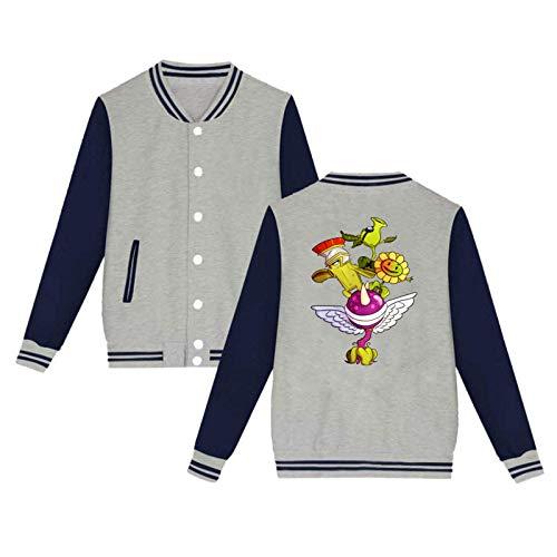 Lanmei Plants Vs. Zombies Unisex Hipster Baseball Uniform Jacket Sport Coat Gray