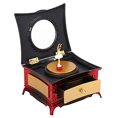 HERCHR Carillon portagioie per Ragazze, Carillon Ballerina per Ragazze Portagioie Regali di Natale per Bambini Decorazioni Camera da Letto per Ragazze(Rosso + Oro)